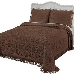 Calista Chenille Lightweight Bedspread with Fringe Border