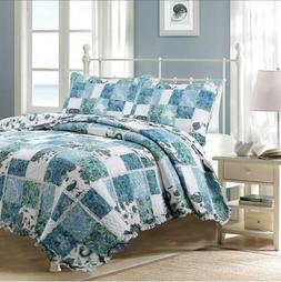 Calypso Real Patchwork 100%Cotton Quilt Set, Bedspread, Cove