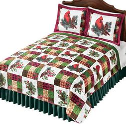 Collections Etc Cardinal Pinecone Patch Quilt BURGUNDY/GREEN