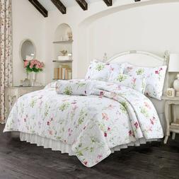 Carlotta Light Pink Blue Floral 3-Piece Quilt Set, Bedspread