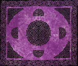 "Celtic Tapestry Cotton Bedspread 104"" x 88"" Full Purple"