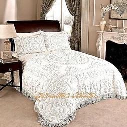 CHENILLE MEDALLION BEDSPREAD Ivory or White 100% COTTON King