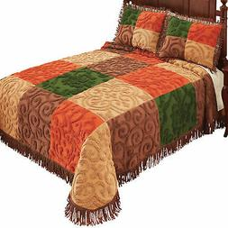 Collections Etc Chenille Patch Bedspread MULTI FULL