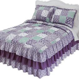 Classique Lavender Ruffled Patchwork Bedspread