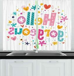 Colorful Quote Kitchen Curtains 2 Panel Set Window Drapes 55