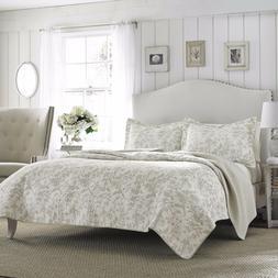 3pc LAURA ASHLEY Cotton Coverlet Quilt Set QUEEN Size REVERS