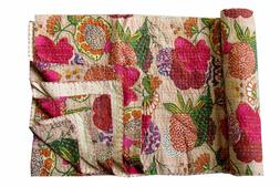 Indian Cotton Floral Print Kantha Quilt Twin Blanket Throw B
