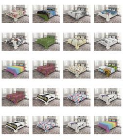 Ambesonne Coverlet Set with Shams Printed Quilted Bed Cover