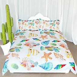 ARIGHTEX Cute Ocean Creatures Bedding, Seashell Bedding Duve