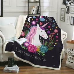 Sleepwish Cute Plush Unicorn Soft Blanket Girls Cartoon Unic