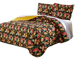 DaDa Bedding Bohemian Floral Honey Yellow Brown Quilt Bedspr