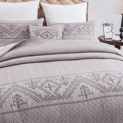 DaDa Bedding Elegant Purple Dyed Yarn Embroidery Quilted Cov