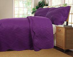 DaDa Bedding Thin Lightweight Solid Purple Plum Quilted Cove