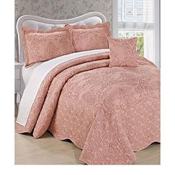 D&H 4 Piece 120 X 120 Dusty Coral Pink Oversized Damask Beds