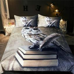 Duvet Cover Microfiber Fabric Bedding Set Owl Animal Bedspre