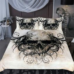 Duvet Cover Set Beddings Gothic Skull Print Woven Fabric Bed