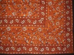 "Earth Dabu Block Print Indian Tapestry Cotton Spread 106"" x"