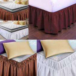 Elastic Bed Skirt Dust Ruffle Wrap Around Bedspread Covers T