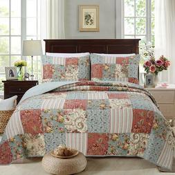 Eleanor Patchwork Reversible Cotton Quilt Set, Bedspread, Co