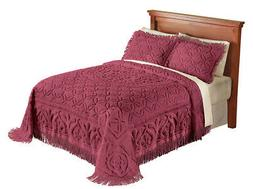 Elegant Victoria Plush Chenille Bedspread with Fringe Border