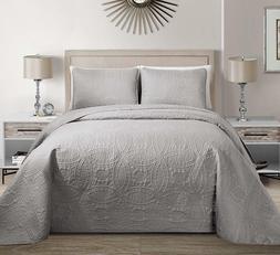 Fancy Linen Embossed Oversized Coverlet Bedspread Set Silver