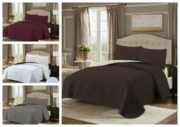 Embossed Reversible 3 Piece Bed spread Coverlet Quilt Beddin