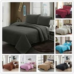 embossed reversible bedspread coverlet quilt set bedding