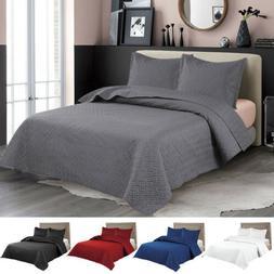 Embossed Reversible Bedspread Coverlet Quilt Set Bedding Cov