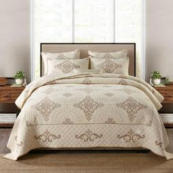 Embroiedered Chic Bedspread Cotton Quilt Set Bedding Cover O