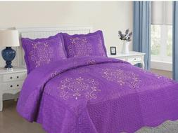 Empire Home Diana 3-Piece Quilted Bedspread Embroidered Cott