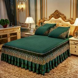 Europe Lace Solid Summer Bedspread Quilted Cool Ice Silk Bed