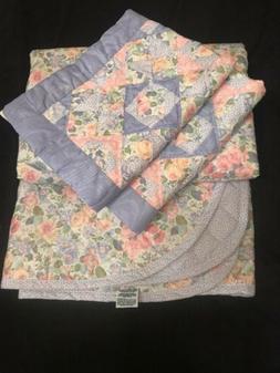 FAB! 3PC Quartet LAURA ASHLEY Double Side Quilt Bedspread &
