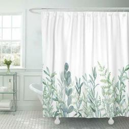 Emvency Fabric Shower Curtain Curtains with Hooks Green Euca
