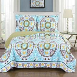 Fabulous Boho Nyah Reversible Floral Printed Quilt Set; Pet-