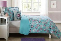 Fancy Linen Bedspread Flakes Floral Turquoise Pink White New