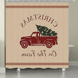 JAWO Farmhouse Shower Curtains for Bathroom, Red Truck Green