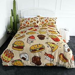 ARIGHTEX Fast Food Bedding 3 Pieces Pizza Hamburger French F