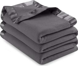 Sateen Fleece Blanket Cozy Brushed Fabric Super Warm Bed Bla