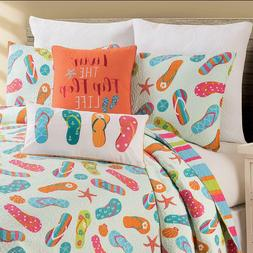 Flip Flop Life Coastal 3 Pc Queen or King Quilt Set-Quilted