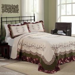 Oversized King Size Cotton Quilt Floral Burgundy Bed Spread