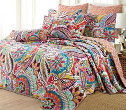 Floral Paisley 3-Piece Reversible Quilt Set, Bedspread, Cove