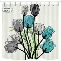 JAWO Flower Shower Curtain, Watercolor Tulip kallaite Black