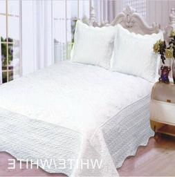 FLOWERS EMBROIDERED WHITE COLOR BEDSPREAD COVERLET SET 3 PCS