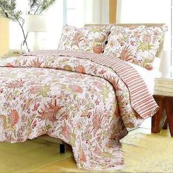 Flowers in Paradise 100% Cotton Twin Size 2-Piece Quilt set,