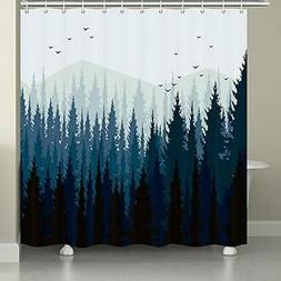 JAWO Forest Shower Curtain Foggy Mountain Birds and Pine Tre