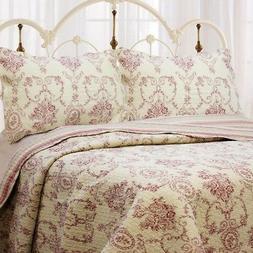 French Medallion Burgundy Red 100% Cotton Quilt Set, Bedspre
