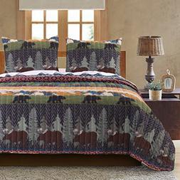Greenland Home GL-1608EMST Black Bear Lodge Quilt Set, Twin