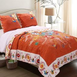 Greenland Home Bohemian Floral Orange 3-PC Reversible Bedspr