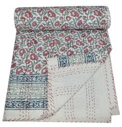 Hand Block Print Twin Cotton Kantha Quilt Throw Blanket Beds