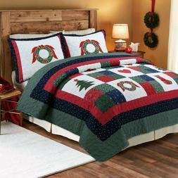 Happy Christmas 3-Piece 100%Cotton Quilt Bedding Set, Bedspr
